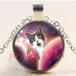 Silly Galaxy Cats Glass & Silver Necklace